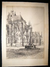 Adeline S. Illingworth C1890s Folio Etching. Notre Dame La Ferte Bernard. Signed